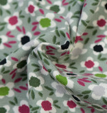Nooteboom Textiles Tricot Flowers Dusty Mint