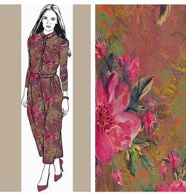 Toff Designs French Terry Painted Flowers Mid Brown