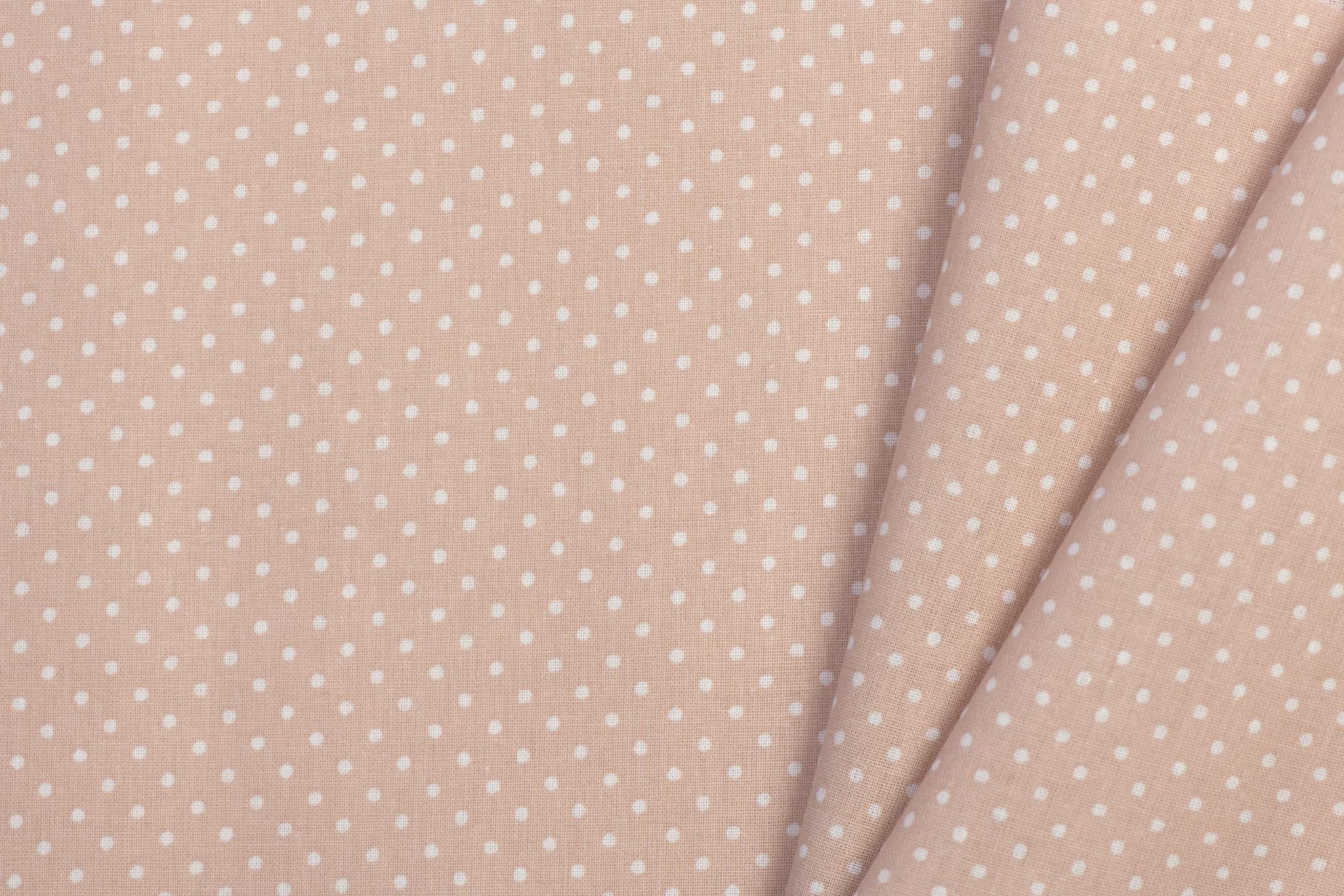 Katoen Poplin Mini Dots Nude Rose