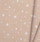 Katoen Poplin Zetoile Stars Nude Rose