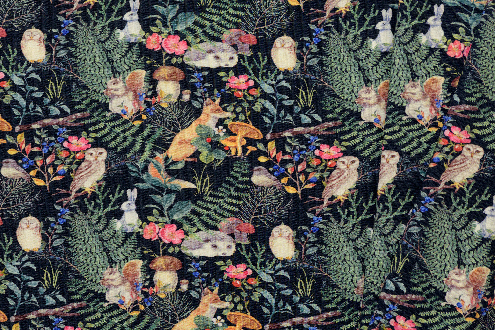 Toff Designs French Terry Forrest Animals Navy