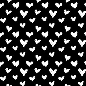 by Poppy designed for you Organic Jersey Graphic Hearts Black