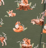 by Poppy designed for you Organic Jersey Forest Animals Forest Green