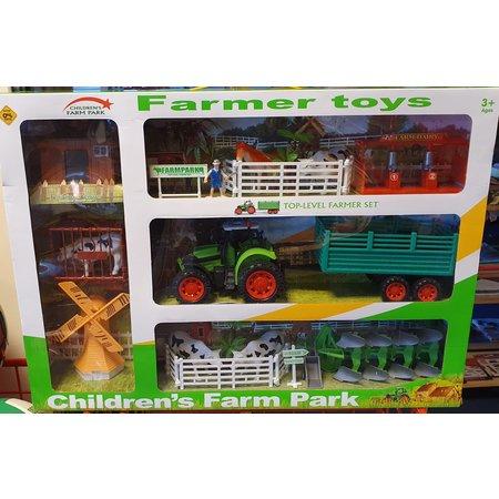 Boerderijset Traktor, Dieren en toebehoren 46x50cm