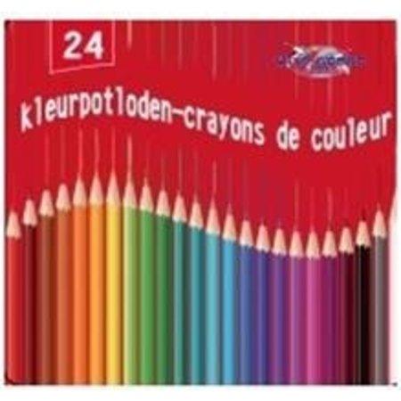 Kleurpotloden 24 stuks in blikken doos