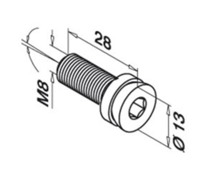Verstelbare inbus voor schaamshotklem, M8 x 20 mm RVS