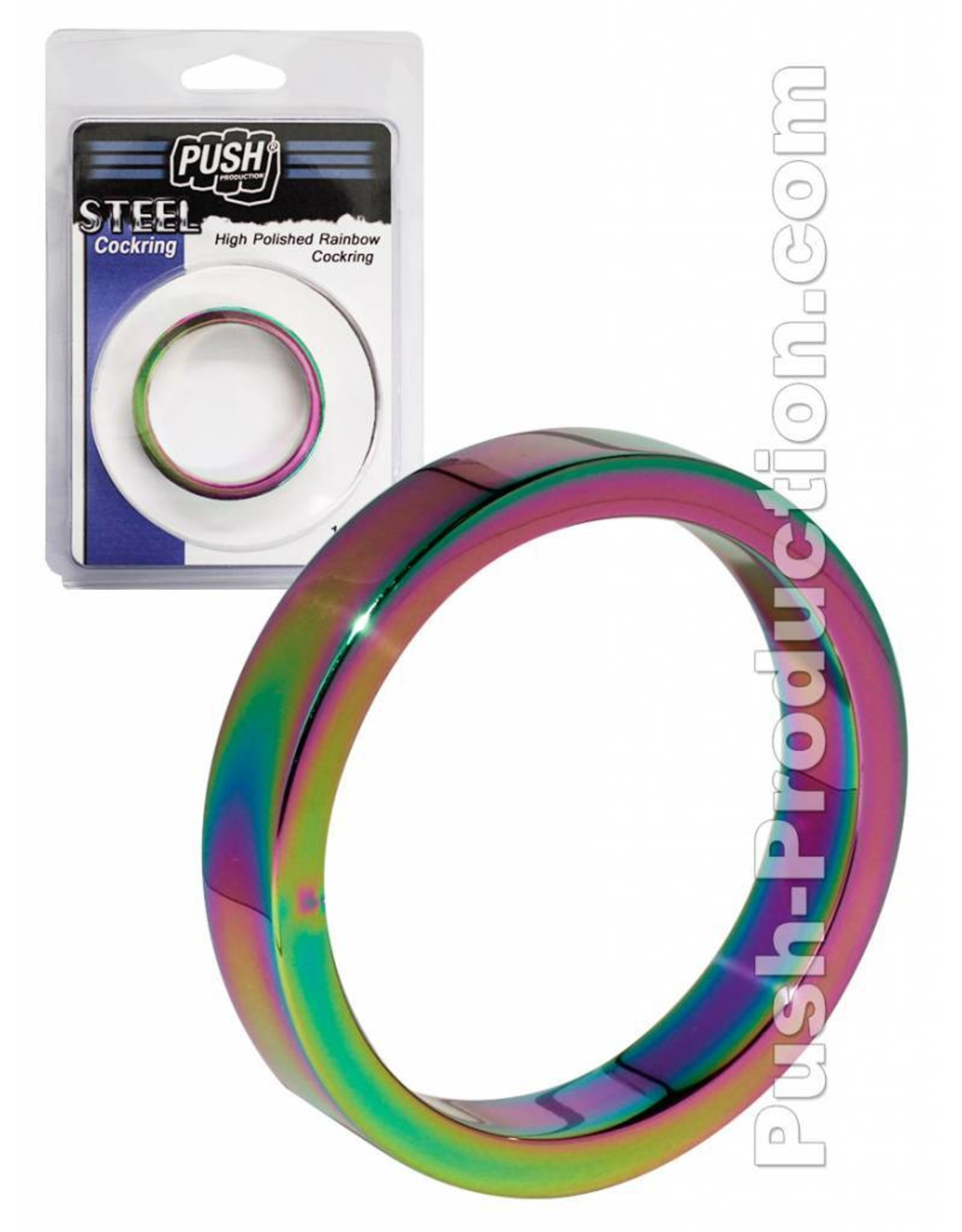 Push Steel - High Polished Rainbow Cockring