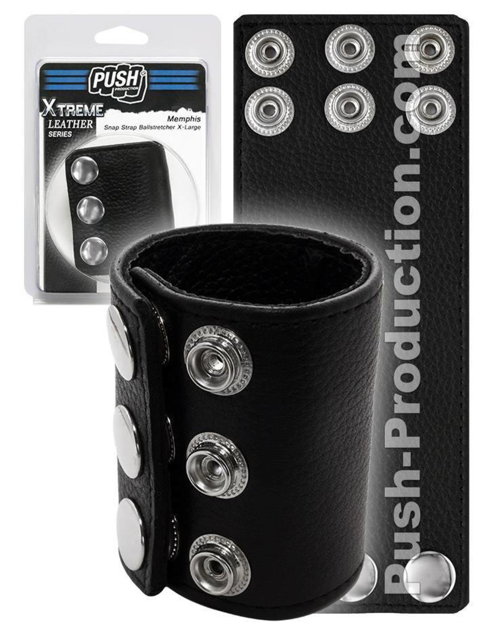 Push Xtreme Leather Memphis Snap Strap Ballstretcher X-large