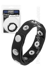 Push Xtreme Leather New York Cock & Ball Rivets Snap Strap