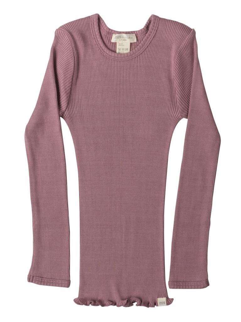 Minimalisma Bergen long sleeve shirt silk -fine rib - 70% silk/ 30% cotton -  cosy rose - 2y to 6y