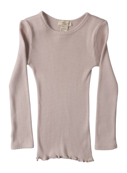 Minimalisma Bergen long sleeve shirt silk- fine rib - 70% silk/ 30% cotton -  sweet rose - 2 to 6y