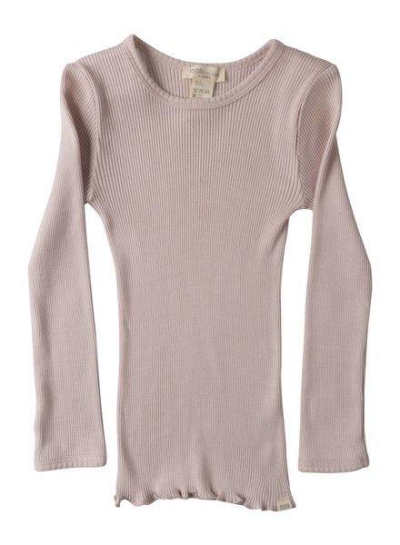 Minimalisma Bergen shirt lange mouw zijde -fijn geribd - 70% zijde -  zacht rose - 2 tm 8 jaar