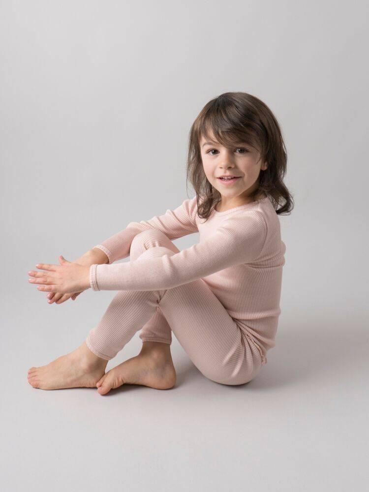 Minimalisma Bergen shirt lange mouw zijde -fijn geribd - 70% zijde -  zacht rose - 2 tm 12 jaar