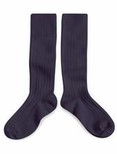 Collégien Knee socks - Egyptian cotton ribbed - Nuit étoilée / Night blue - 21 to 41