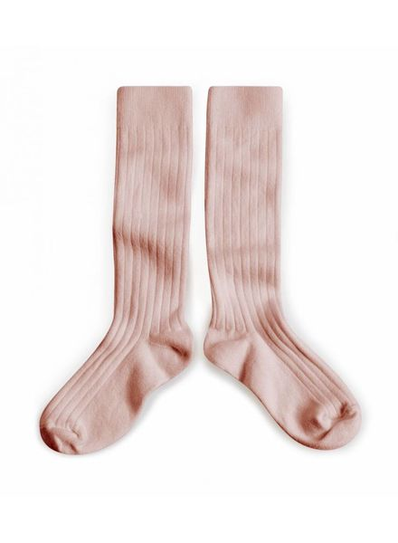 Collégien Knee socks - Egyptian cotton ribbed - VIEUX ROSE/ old pink- size 21 to 35