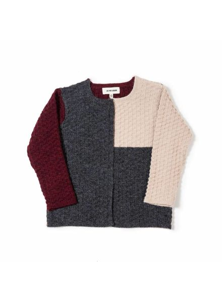 As We Grow Colourblock wollen vest- 100% alpaca - creme/grijs/rood - 36m tm 5 jaar