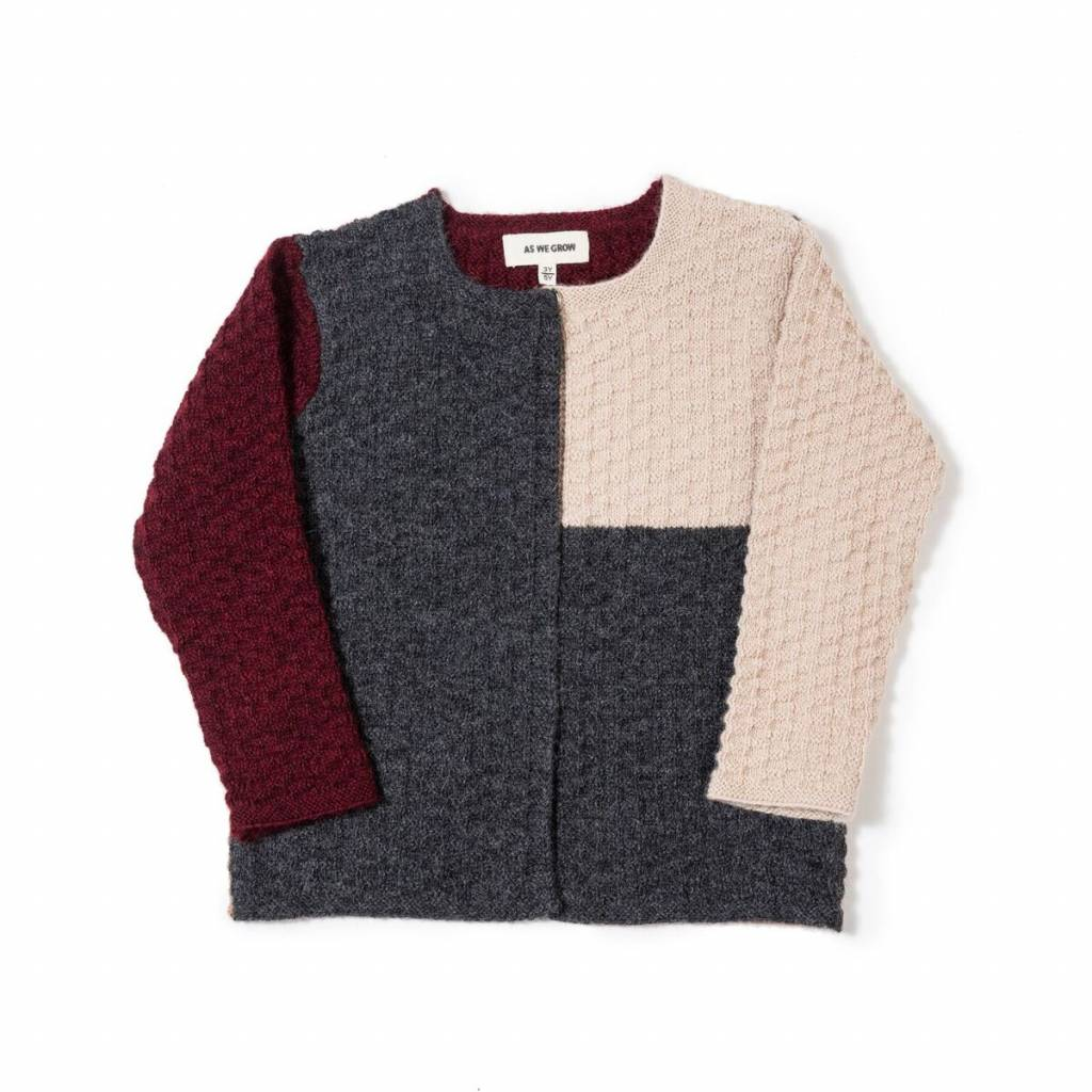 As We Grow Colourblock cardigan- 100% alpaca - red/grey/creme - 36m to 5