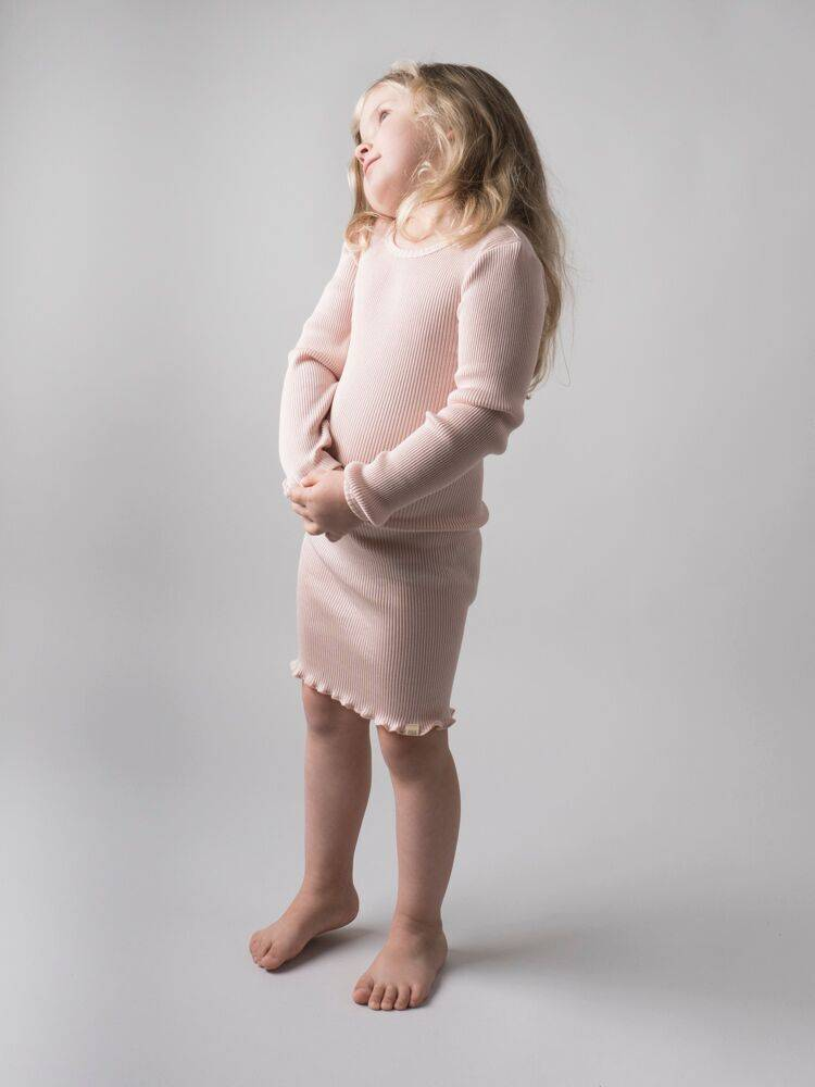 Minimalisma Bina dress silk - fine rib - 70% silk  - sweet rose - 18m to 8y
