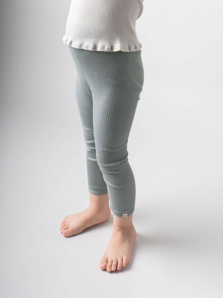 Minimalisma Bieber silk leggings - fine rib - 70% silk - pale jade -  to 10y