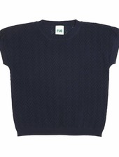 FUB fine knitted v-pattern t-shirt - 100% organic cotton - navy - 90 to 130