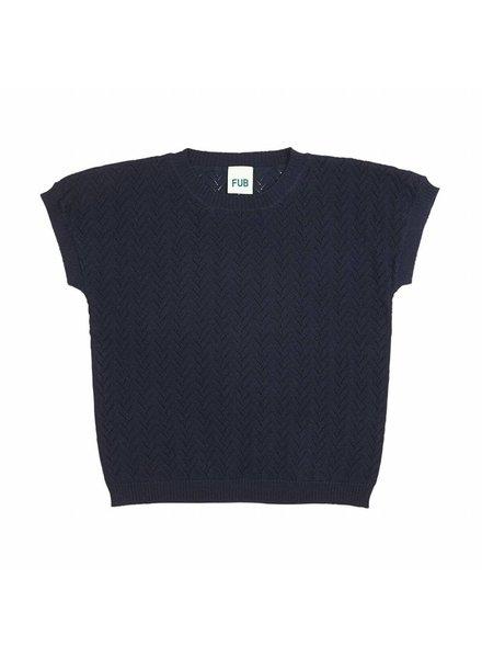 FUB fijngebreid shirt met ingebreid chevron motief- 100% biologisch katoen - donkerkblauw - 90 tm 130