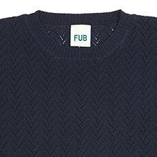 FUB fijngebreide top - 100% biologisch katoen - donkerkblauw/ ecru - 90 tm 130