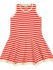 FUB sailor stripe dress - 100% organic cotton fine knit - ecru/red - 90 to 130