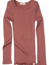 Minimalisma Bergen long sleeve shirt silk- fine rib - 70% silk/ 30% cotton - antique red - 2 to 10y