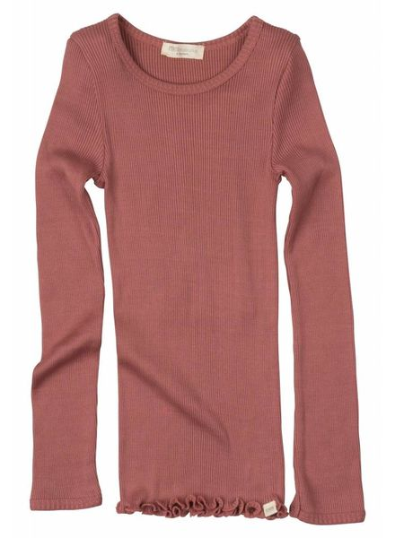 Minimalisma Bergen long sleeve shirt silk- fine rib - 70% silk/ 30% cotton - antique red - 2 to 14y