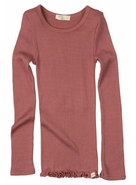Minimalisma Bergen shirt lange mouw zijde -fijn geribd - 70% zijde/ 30% katoen - antiek rood - 2 tm 10 jaar