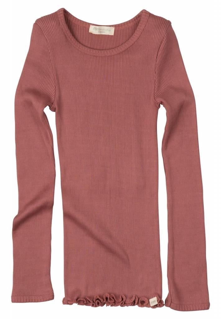 Minimalisma Bergen shirt lange mouw zijde -fijn geribd - 70% zijde/ 30% katoen - antiek rood - 2 tm 14 jaar