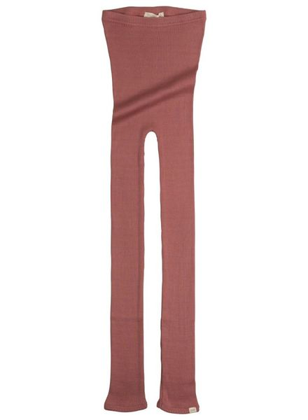 Minimalisma Bieber silk leggings - fine rib - 70% silk/ 30% cotton - antique red- 12m  to 8y