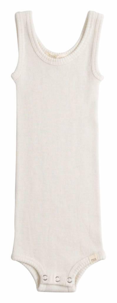 Minimalisma Aarhus tanktop baby body wool - 100% merino - off white -  1m to 24m