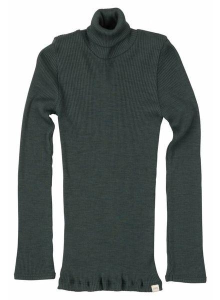 Minimalisma Alf turtleneck wool - fine rib - 100% merino - green jade - 2y to 8y