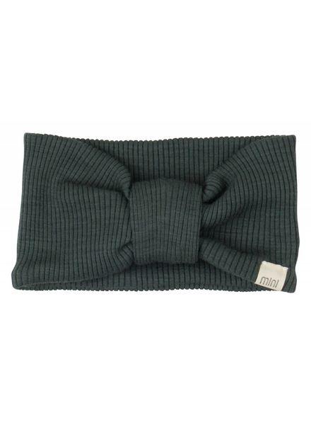 Minimalisma Alba haarband wol - fijn geribd - 100% merino - donkergroen- 1 tm 6 jaar