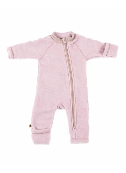 Smallstuff wool baby jumpsuit - 100% merino wool fleece - pink - 56 tm 98