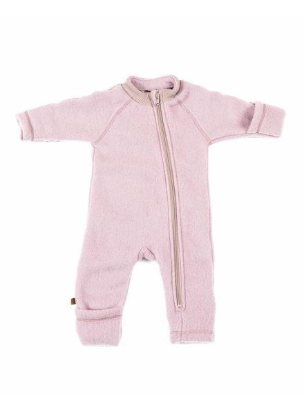 Smallstuff wool baby jumpsuit - 100% merino wool fleece - pink - 56 tm 98