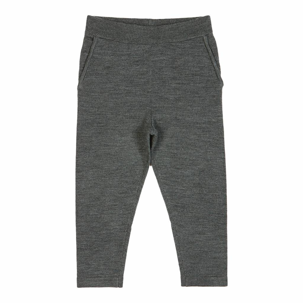 FUB wollen sweatpants - gebreide joggingsbroek 100% merino -  antraciet - 90 tm 130