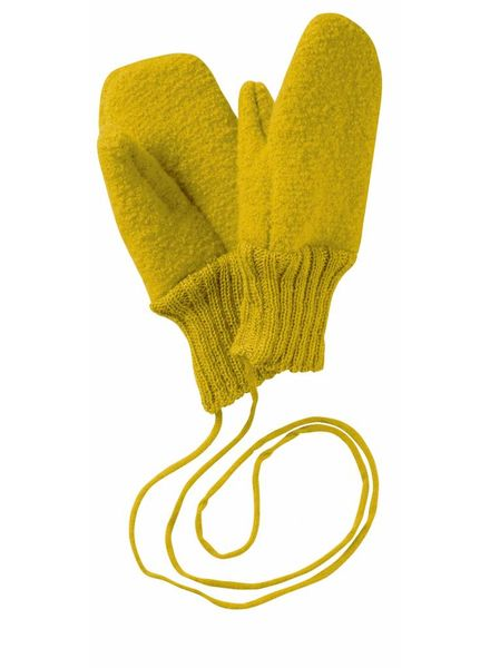 DISANA boiled wool mittens - 100% organic merino wool - curry