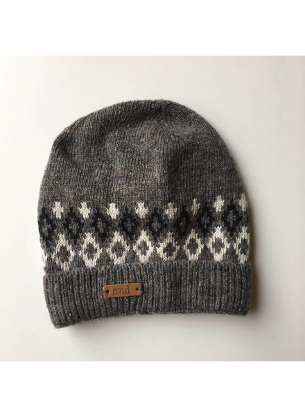 Condor knitted beanie hat wool silk mix - Nordic motive - dark grey melange - S, M, L