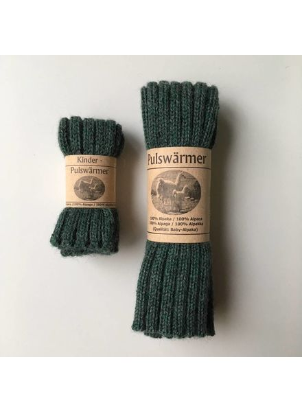Baby Alpaca by De Colores woolen wristwarmers/ legwarmers set of 2 - knitted in 100% baby alpaca - rib - green jade - one size