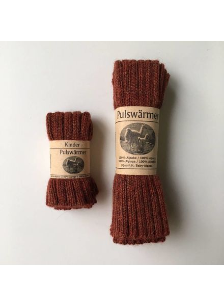 Baby Alpaca by De Colores woolen wristwarmers/ legwarmers set of 2 - knitted in 100% baby alpaca - rib - brique - one size
