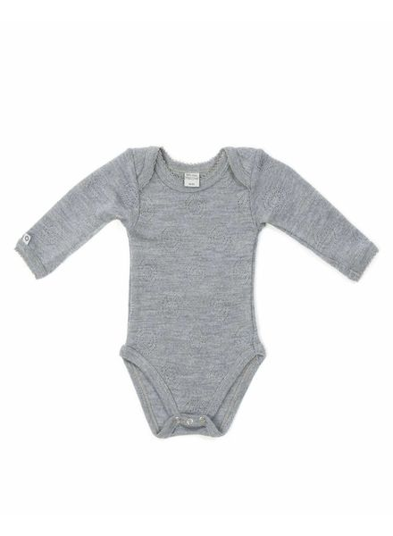 Smallstuff romper body wool - 100% merino - light grey - size 56 to 98
