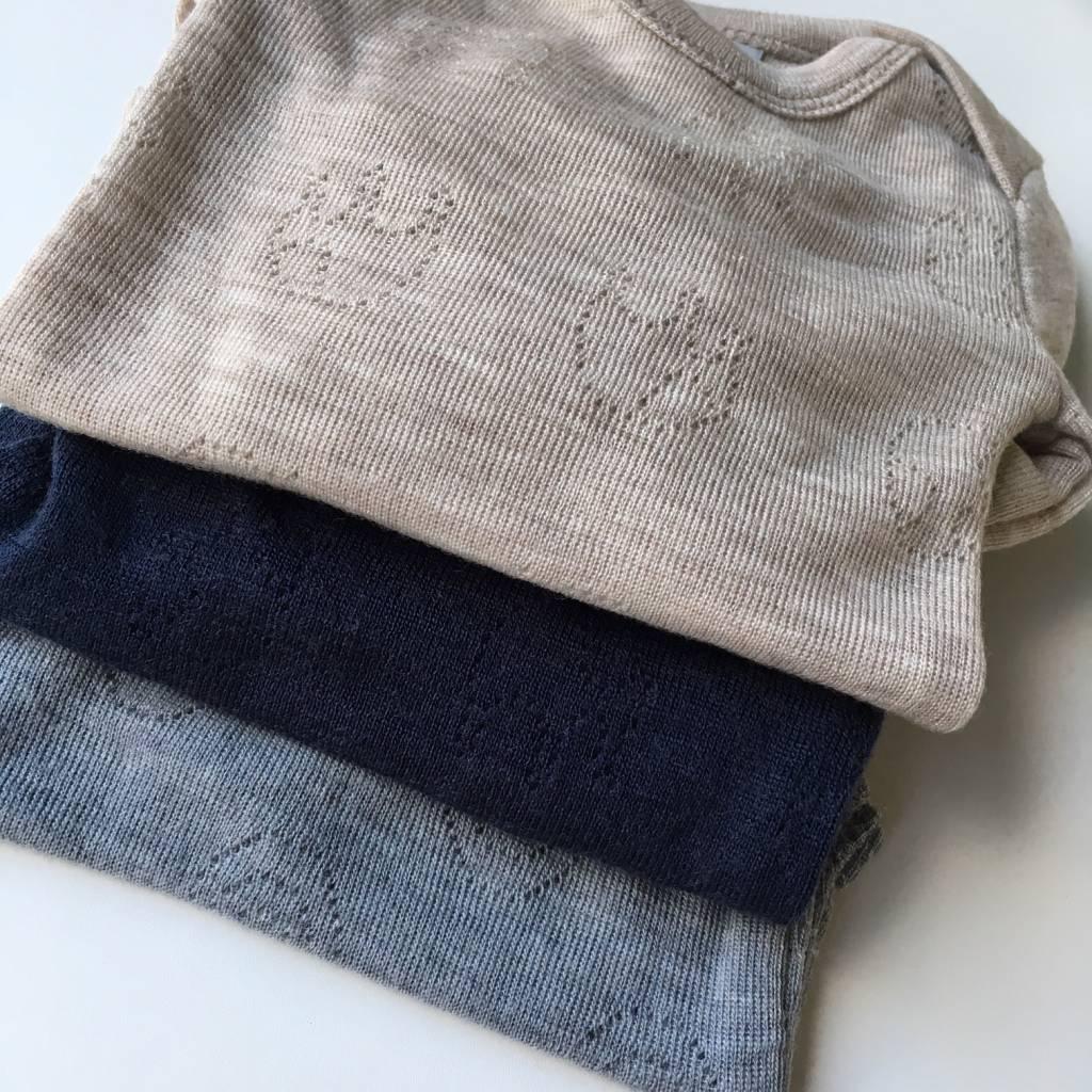 Smallstuff romper body wool - 100% merino - light grey - size 56 to 98