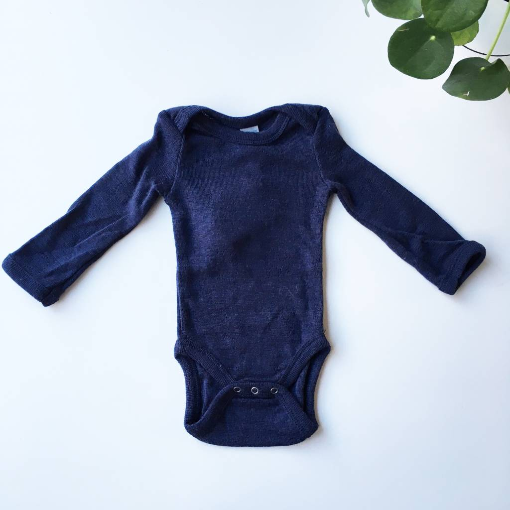 Smallstuff romper body wool - 100% merino - navy - size 56 to 98