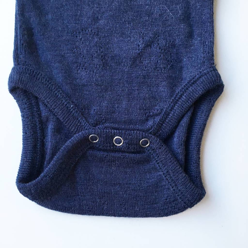 Smallstuff wollen romper - 100% merino wol - ajour donkerblauw - maat 56 tm 98