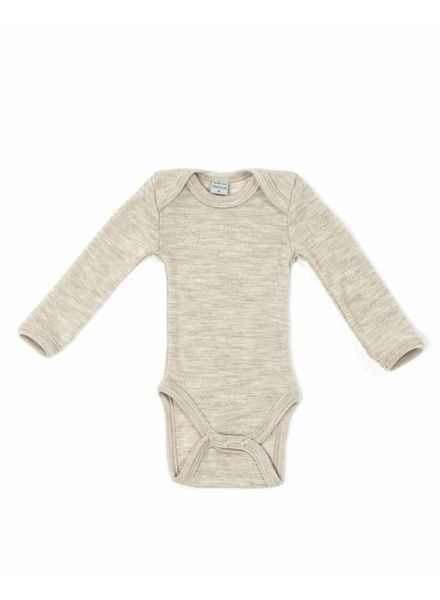 Smallstuff romper body wool - 100% merino - beige naturel - size 56 to 98