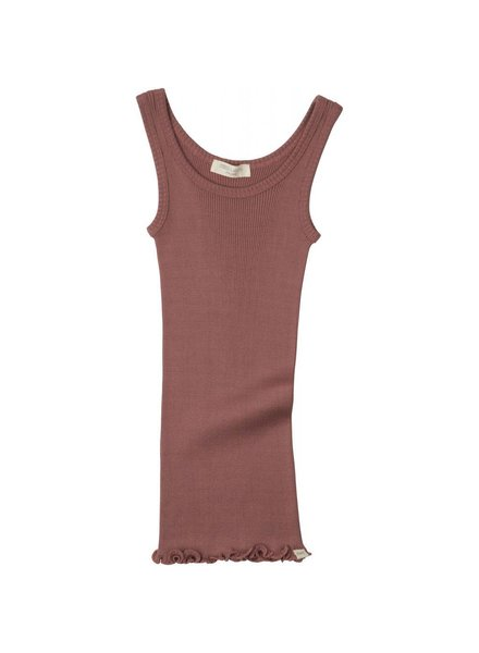 Minimalisma silk tanktop Billund - fine rib - 70% silk - antique red - 2 to 12 years