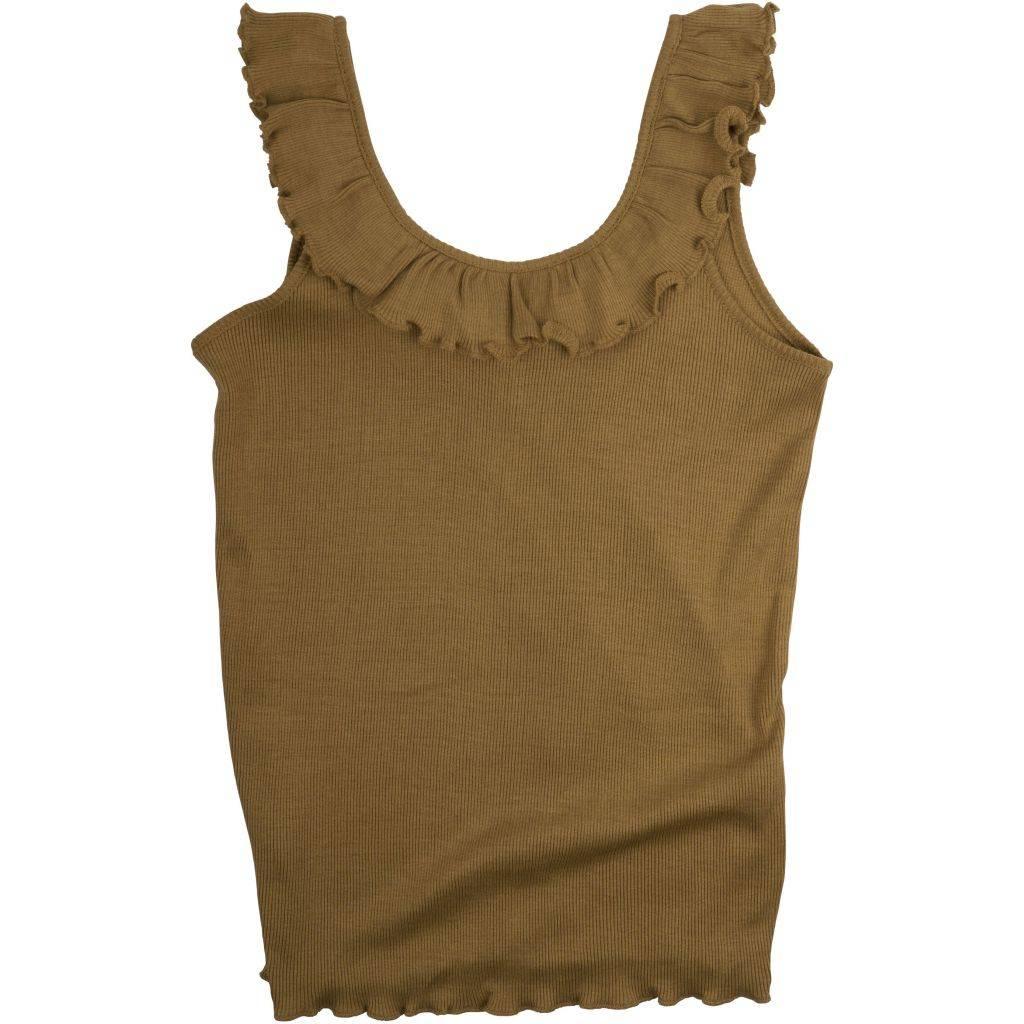 Minimalisma zijden meisjestop Herdis - fijne rib - 70% zijde -  okergeel - 2  tm 10 jaar