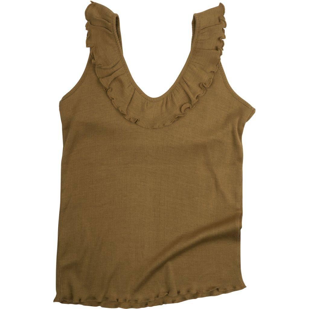 Minimalisma silk girls top Herdis - fine rib - 70% silk - ochre - 2 to 10 years